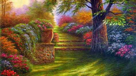 painting for mobile free flower garden wallpapers find best flower garden