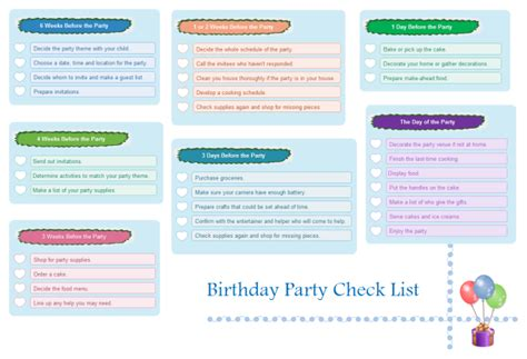 birthday checklist template birthday checklist free birthday checklist