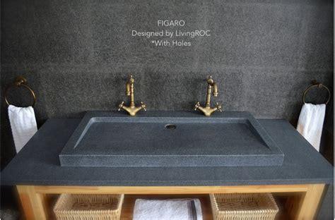 double faucet trough 39 quot gray granite stone double faucet trough figaro