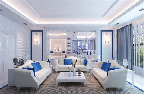 blue and white living room blue and white living room interior design 3d house