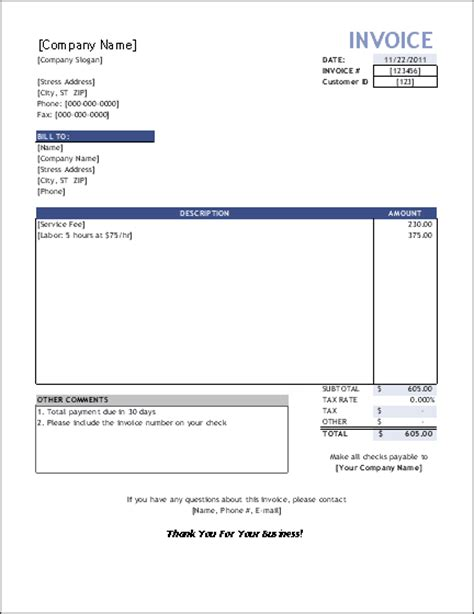 invoice template services free service invoice template for consultants and service