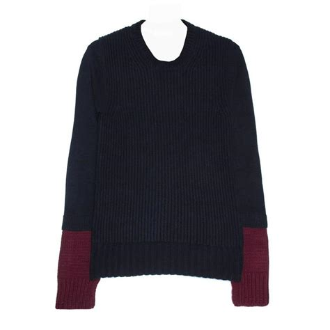 Sale Celin Navy navy and burgundy sweater for sale at 1stdibs