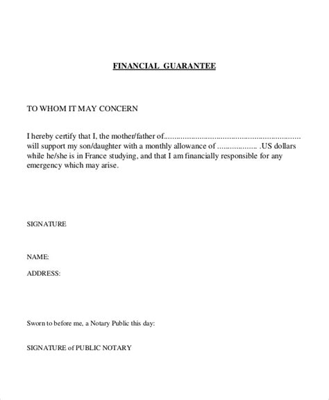 Is Letter Of Credit A Financial Guarantee guarantee letter