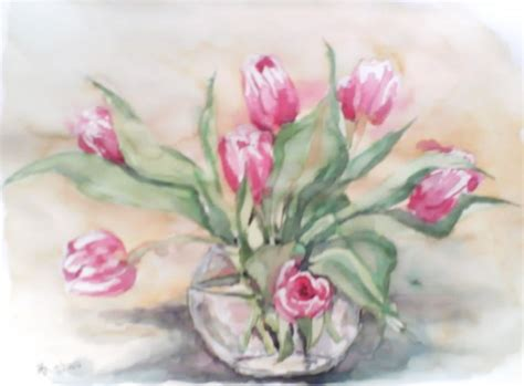 le blume pin tulpen aquarell blume blumen on