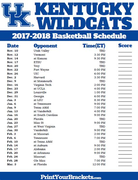 uk basketball schedule spread printable kentucky wildcats 2017 2018 basketball schedule