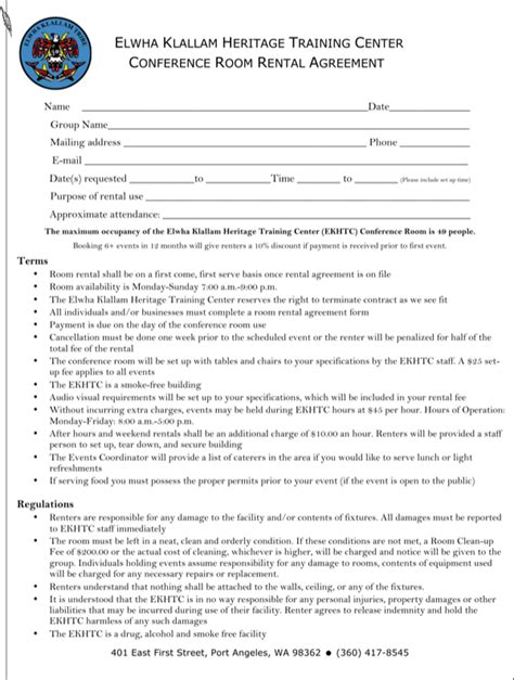 conference room rental agreement letter for free