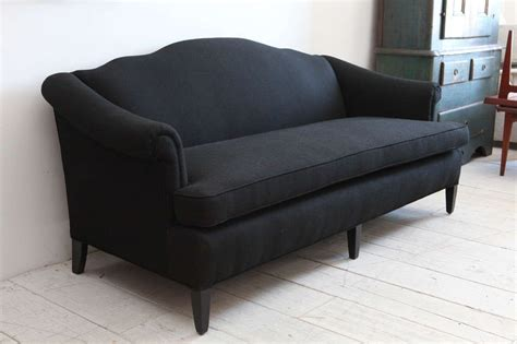 vintage camel back sofa vintage camelback sofa upholstered in black linen