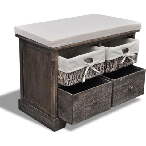 brown storage bench with baskets wooden storage bench w 2 drawers baskets in brown buy