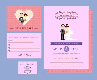 newlywed card template wedding card flowers design on background