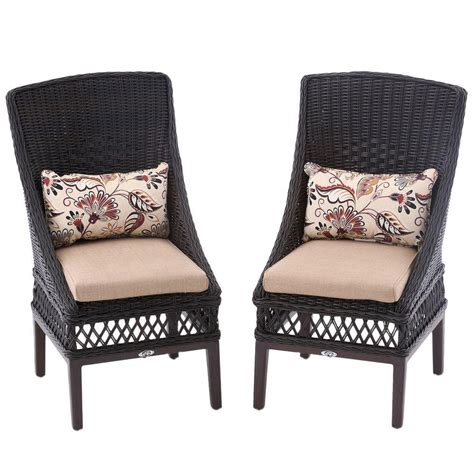 hton bay woodbury patio dining chair with textured sand