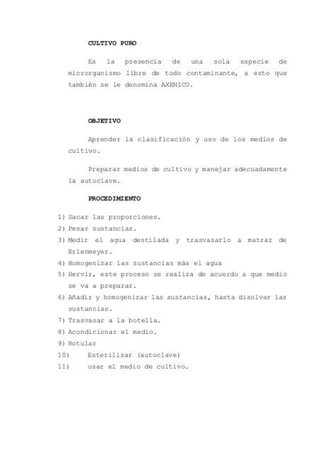 MEDIOS DE CULTIVOS: METODOLOGÍA Y USOS.....