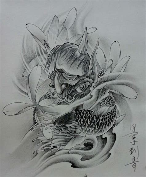 koi fish with lotus flower tattoo designs grey sorowful with big lotus flowers and koi