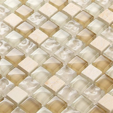 square tile backsplash brown and clear glass mixed beige mosaic square for