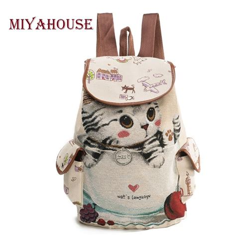 Lovely Cat Backpack By Anfashion miyahouse casual canvas school backpack lovely cat