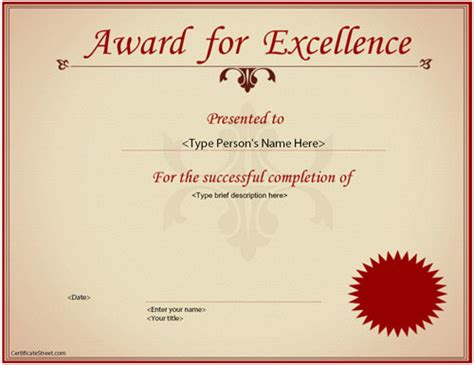 award of excellence certificate template award certificate template 14 in psd pdf