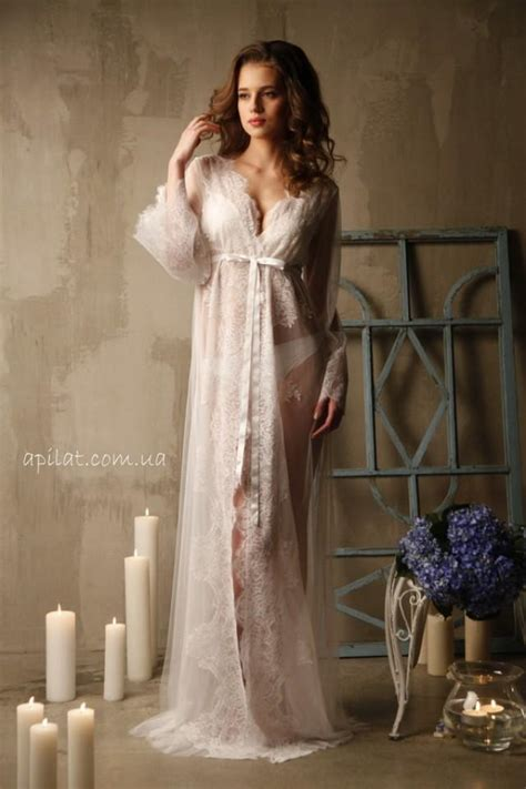 Langerie Cotton lace trimmed tulle bridal robe f14 nightdress