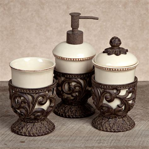 Bathroom Accessory Collections Gg Collection Gracious Goods 3 Vanity Set With Metal Holders