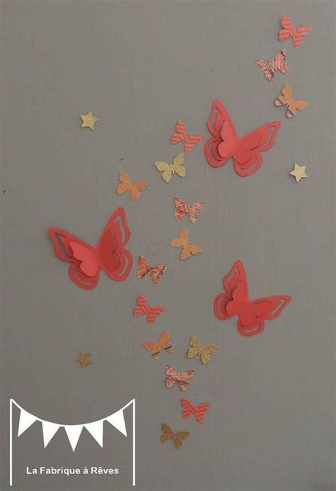 stickers chambre enfant fille 25 stickers papillons corail abricot p 234 che gris et dor 233 d 233 coration chambre enfant b 233 b 233 fille