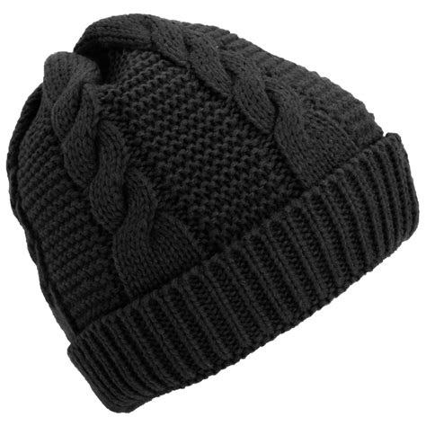 Womens Cable Knit Fleece Lined Winter Beanie Hat Ebay