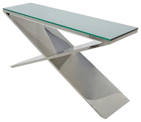 Prague Console Table In Stainless Steel By Nuevo Hgta635 Stainless Steel Sofa Table