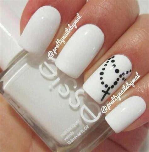 easy nail art white base white base rosary nail design nail art pinterest