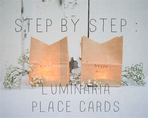 how to make wedding reception place cards diy luminaria place cards rustic wedding chic