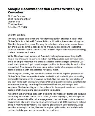sample recommendation letter coworkers