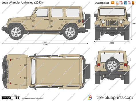 Jeep Wrangler Unlimited 5 Door Vector Drawing