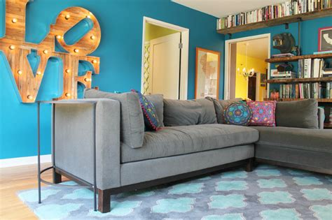 my houzz retro flamingo colors brighten a vintage style home eclectic living room