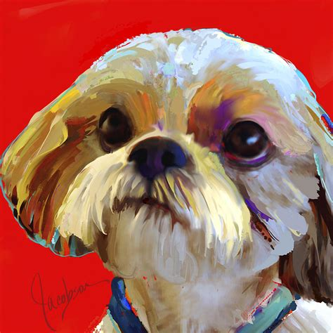 shih tzu painting shih tzu 2 painting by jackie jacobson