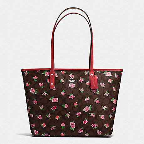 Coach Mini Floral Logo Print Coach F57888 City Zip Tote In Floral Logo Print Coated
