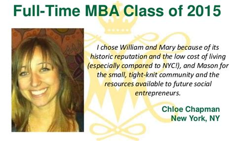 Cost Chapman Mba by Why W M The Class Of 2015