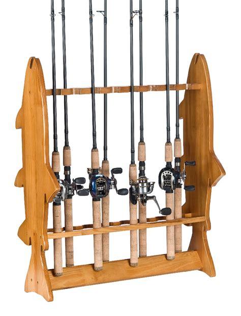 organized fishing fish floor rack