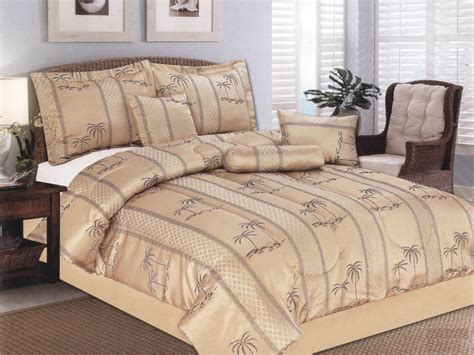 7 pc luxurious palm tree island jacquard comforter set