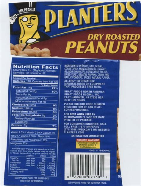 Planters Peanuts Ingredients by Planters 174 Roasted Peanuts