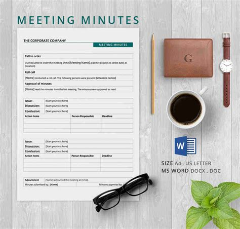 minutes of meeting format doc templates fillable printable