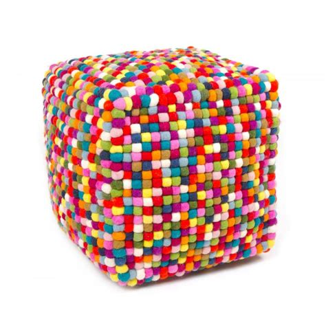 Multi Colored Cube Felt Ball Ottoman Pouf Ebay Multi Colored Ottoman