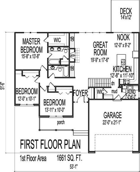 ranch floor plans with bonus room 1661 square foot ranch house plans pinterest bonus
