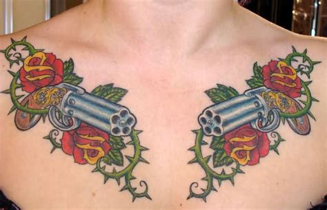vine tattoo on chest 50 most amazing pistol tattoo design pictures