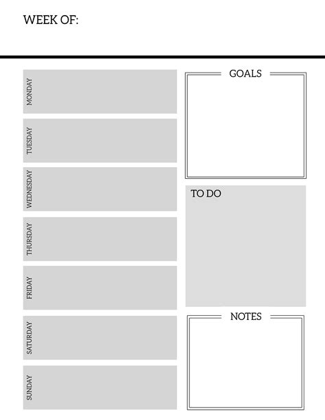 printable blank planner pages free printable weekly planner pages paper trail design