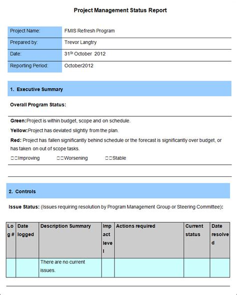 issue report template project management report template