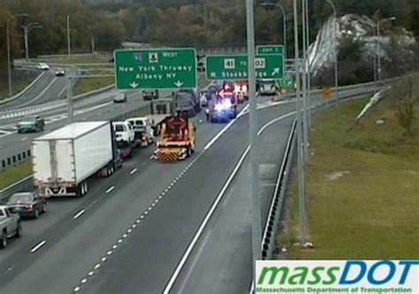 Tractor trailer jackknifes on Mass Pike in West