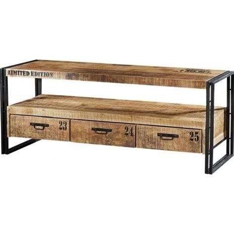 banc tv industriel 3 tiroirs acacia m 233 tal achat vente