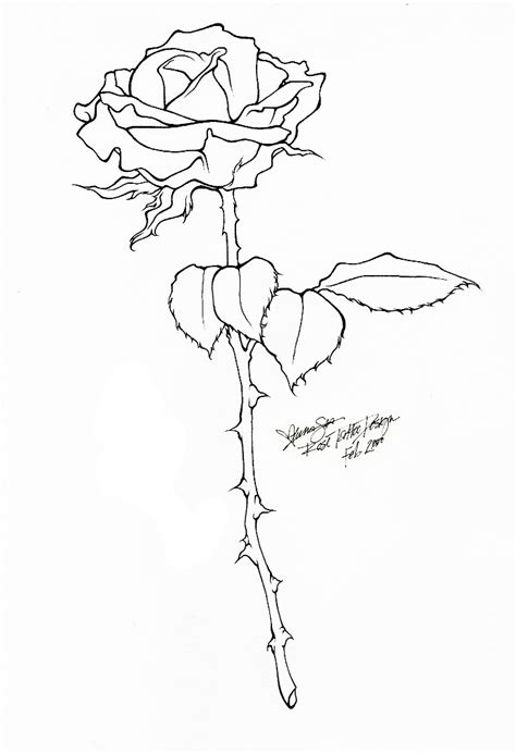 rose tattoo line art by bloodyluna on deviantart