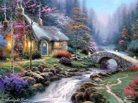 kinkade twilight cottage kinkade twilight cottage wallpaper other