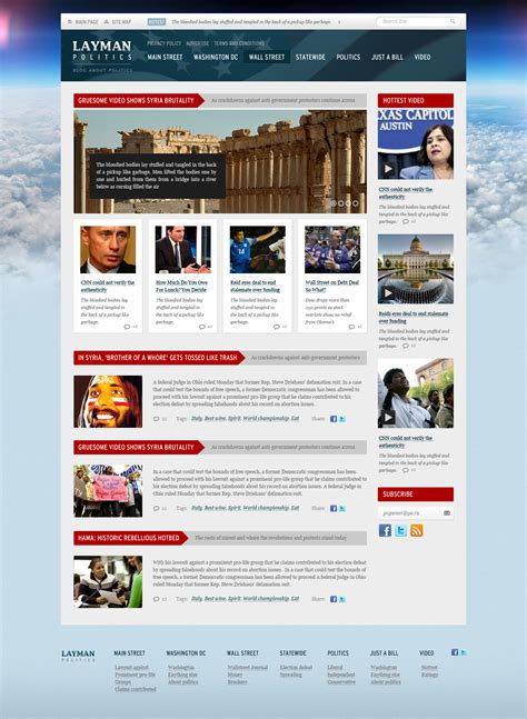 Layman Politics News And Politics Free Psd Website Template Designmodo News Website Templates