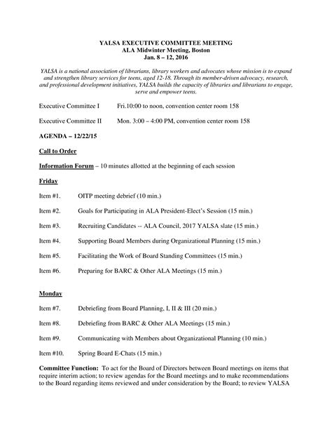 Committee Team Meeting Agenda | Templates at