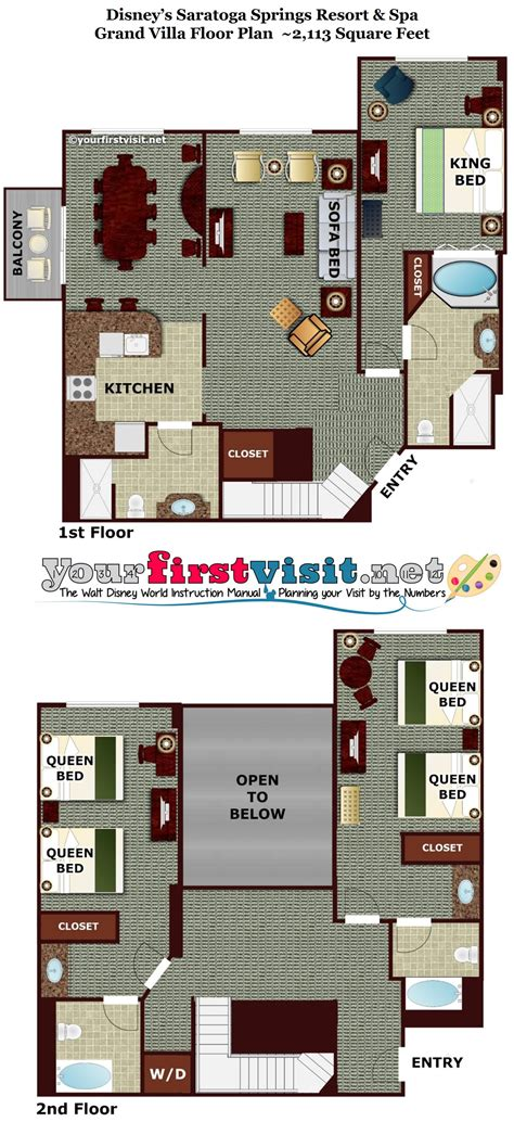 saratoga springs grand villa floor plan theming and accommodations at disney s saratoga springs