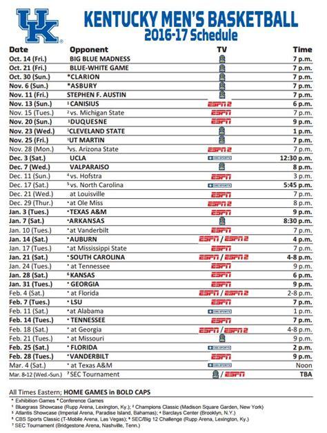 Uk Basketball Schedule 2016 17 Printable