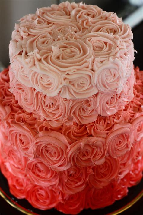 red roses pink ombre cake ombre rose wedding cake onewed com